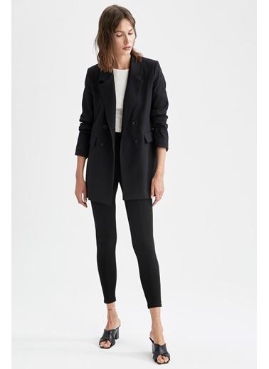 DeFacto Kapaklı Cepli Relax Fit Uzun Kollu Blazer Ceket Siyah